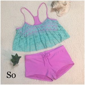 SO Other - Flounce Bikini mint and pink