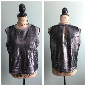 Who What Wear Tops - NWT Who What Wear size medium gray sequined top!