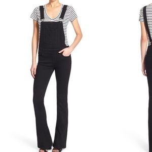 Paige Jeans Denim - Paige Jeans Denim Tavie Flare Overalls Raven Black