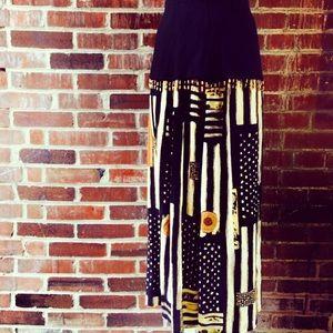 Vintage 80s Tribal Beaded Print Skirt