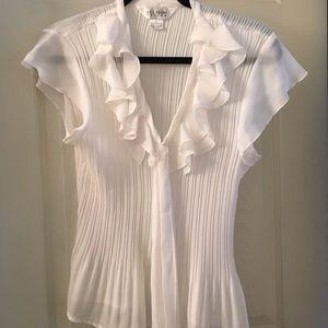 allison taylor Tops - ruffled white blouse
