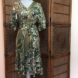 Zara Dresses & Skirts - Zara Woman 100% silk green graphic print dress