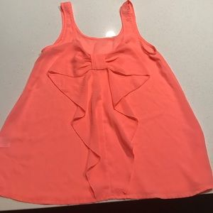 Francesca's Collections Tops - Francesca's Collection Coral Tank Top with Bow