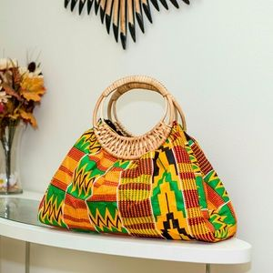 Handbags - Tribal Fabric Print Wicker Handbag