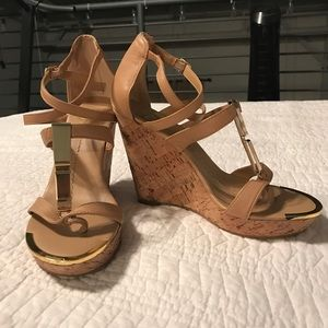 Nude Dolce Vita Wedges w/ Gold Hardware