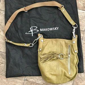 b. makowsky Handbags - B Makowsky Green Leather Crossbody Purse EUC