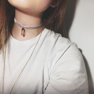 Feathers + Arrows Boutique Jewelry - Grey choker with crystal pendant.