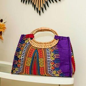 Handbags - African Print Fabric Wicker Hand bag
