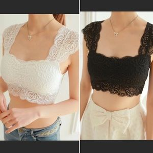 Padded Lace Camisole Bustier Crop Top White/Black
