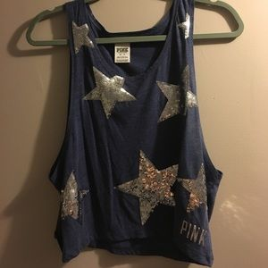 VS Pink Sequin Star Blue Muscle Tank Size XS