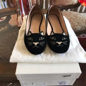 Charlotte Olympia Shoes - Charlotte Olympia Black Kitty Flats