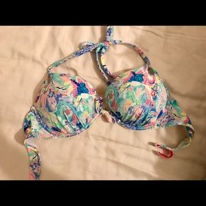 Victoria's Secret Swim - VS Gorgeous Add 2 Cups floral halter swim top