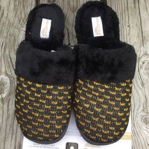 Gold Metallic Black Fur Mule Slippers! NEW!
