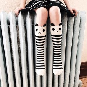 Other - girl's striped panda socks (ages 5-12)