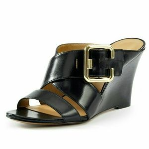 New! Nine West Buckle Leather Wedge Sandals NWB