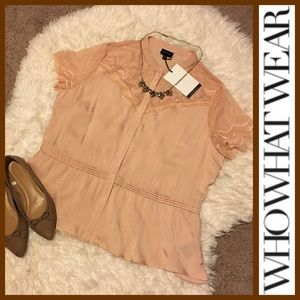 WHO WHAT WEAR Tops - NWT! Who What Wear Blush Pink Lace Peplum Top XXL