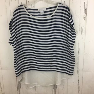 Design History Tops - Blue & White Striped Blouse