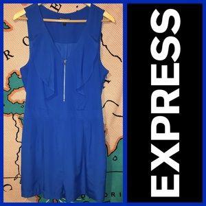 Express Pants - EXPRESS Royal Blue Ruffles Zipper Front Romper 12
