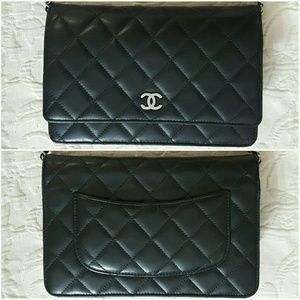 CHANEL Handbags - Chanel WOC Lambskin Quilted Black Silver Hardware