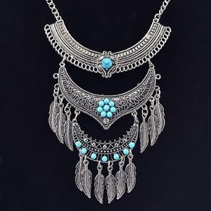 Silver Turquoise Feather Boho Necklace Earring Set