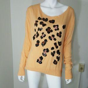 Wildfox Tops - Wildfox White Label Orange Leopard Sequins Shirt L