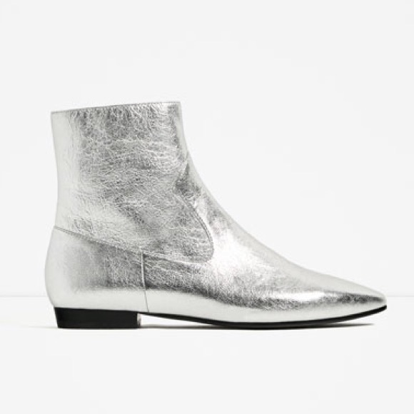classic styles hot sale online cheap sale Zara Shoes | Silver Flat Ankle Boots | Poshmark