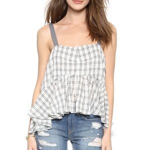 Free People Tops - FREE PEOPLE Lola's Windowpane peplum tank top/ M