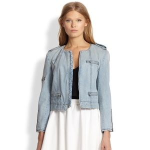 Alice + Olivia Jackets & Blazers - Alice + Olivia Denim Zipper Biker Jacket