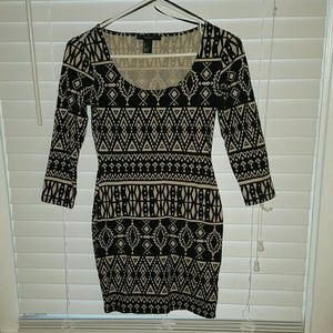 Forever 21 bodycon tribal print dress size s NWOT