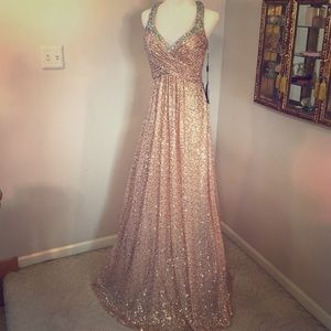 La Femme Dresses & Skirts - AMAZING! Rose Fold Formal Sequin Gown NWT