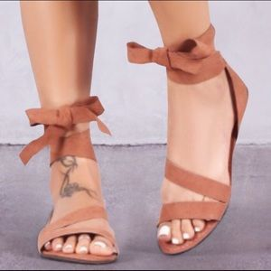 GlamVault Shoes - HERE ❣️Flirty Wraparound Ankle Tie Sandals in Tan