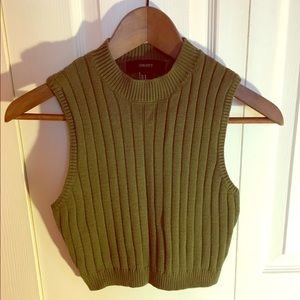 Olive Green Sweater Crop Top!!