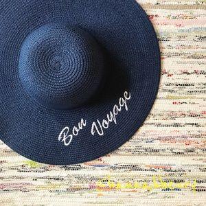 """""""Bon Voyage"""" Embroidered Floppy Beach Hat"""