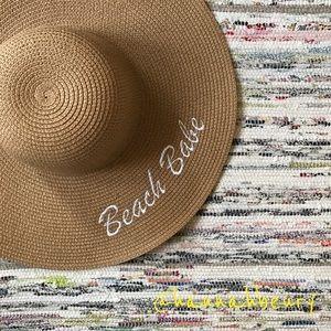"""""""Beach Babe"""" Embroidered Floppy Beach Hat"""