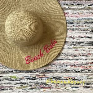 """Beach Babe"" Embroidered Floppy Beach Hat"