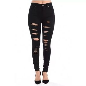 American Bazi Denim - Plus Black High Waist Skinny Ripped Jeans NEW
