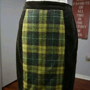 Maeve / Anthropologie Corduroy and Plaid Skirt Sz6