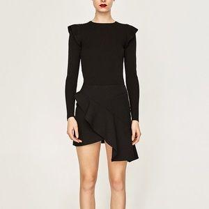 Zara mini skirt with cross over frill-- large