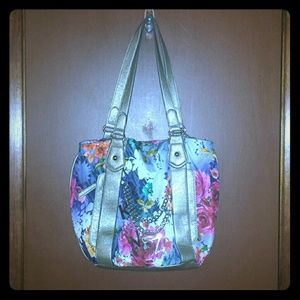 Kathy Van Zeeland Handbags - KVZ floral/metallic trim purse