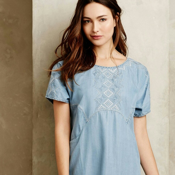 dc6ea978bf91 Anthropologie Dresses & Skirts - Anthropologie holding horses chambray  white sands