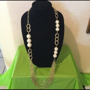 Jewelry - 36 in Pearl and Gold Fashion Necklace