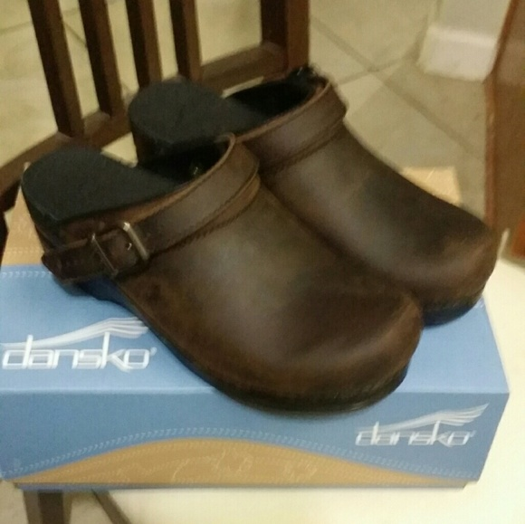 29824668463 Dansko ingrid antique brown black clogs size 39
