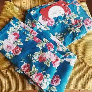 Floral print skiny jeans