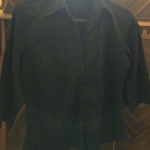 Tops - Woman's M black button down- 3/4 sleeve