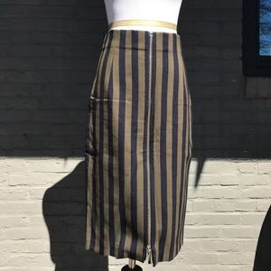 Blue and Green Striped and Zipped Pencil Skirt