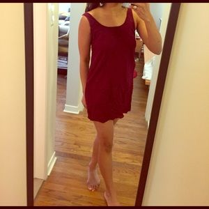 Red Maroon shift sun dress caged back round neck
