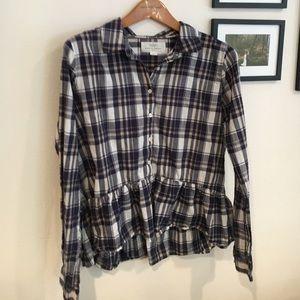 Trovata Tops - Long Sleeve Checkered Peplum Blouse