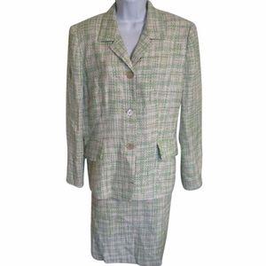 Le Suit Dresses & Skirts - LE SUIT  light green tweed skirt suit size 16