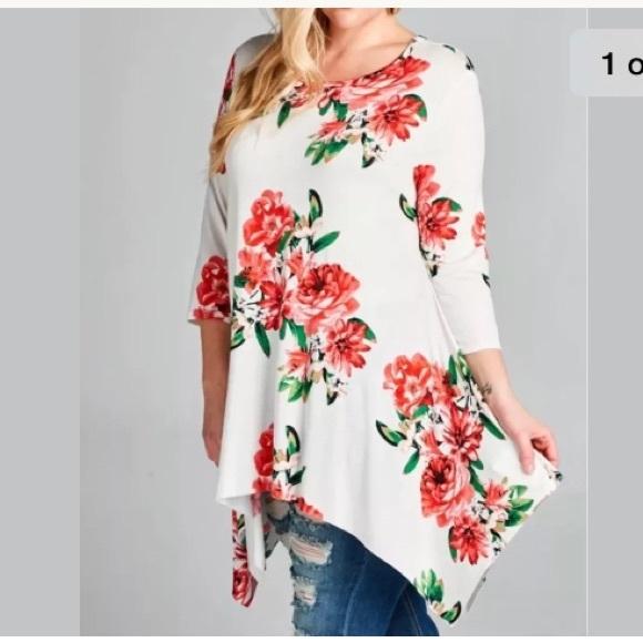 Oddi Tops - Plus Top Floral Tunic Swing 3/4 SLV NEW