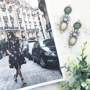 "Erica Rose Jewelry - ""Elodie"" Earrings || Tan & Clear Crystal Statement"